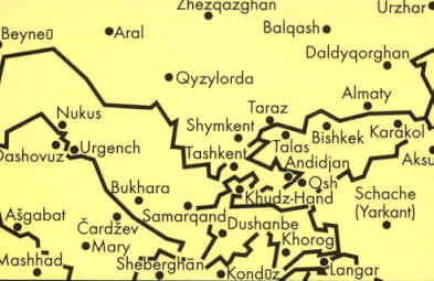 immagine di mappa stradale mappa stradale Asia Centrale, Kyrgyzstan, Southern Kazakhstan, Tajikistan, Turkmenistan, Uzbekistan