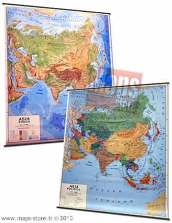 immagine di mappa murale mappa murale Asia - mappa murale plastificata con aste - cartografia fisica e politica (stampata fronte/retro) - 128 x 102 cm