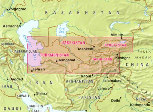 immagine di mappa stradale mappa stradale Asia Centrale - Turkmenistan, Uzbekistan, Tajikistan, Kyrgyzstan, NordEst Iran