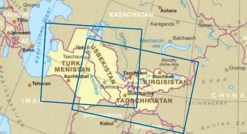 immagine di mappa stradale mappa stradale Asia Centrale - con Uzbekistan, Turkmenistan, Kyrgyzstan, Tajikistan - Mappa Plastificata
