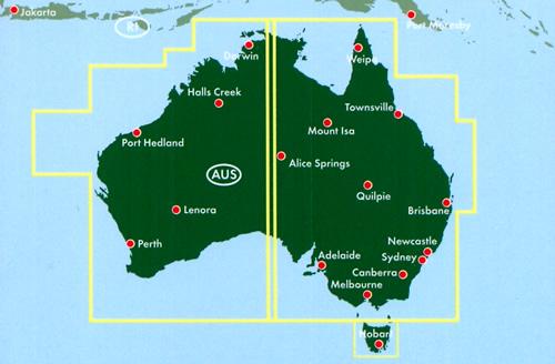 immagine di mappa stradale mappa stradale Australia - Canberra, Sydney, Melbourne, Brisbane, Perth, Adelaide, Darwin, Hobart, Newcastle, Wollongong, Geelong - cartografia con una ricca simbologia stradale facile da consultare + parchi, riserve naturali e luoghi panoramici - edizione 2020