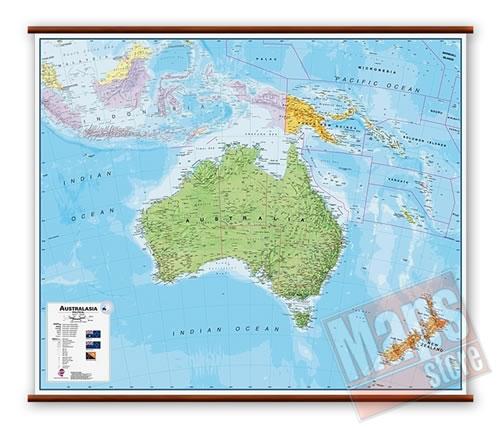 immagine di mappa murale mappa murale Australia - mappa murale plastificata, laminata, scrivibile e lavabile, con aste in legno e ganci in acciaio - con cartografia fisico-politica - 125 x 100 cm