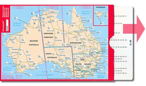 immagine di mappa stradale mappa stradale Australia - con Tasmania, Queensland, New South Wales, Australia centrale e dell'ovest, Canberra, Sydney, Melbourne, Victoria, Brisbane, Perth, Adelaide, Darwin, Hobart, Newcastle, Wollongong, Geelong - cartografia con una ricca simbologia stradale facile da consultare + parchi, riserve naturali e luoghi panoramici + tabella scorrevole per le distanze stradali