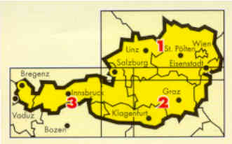 immagine di mappa stradale mappa stradale Austria in 3 carte - Osterreich, 3 Blatter