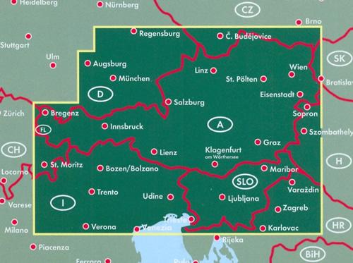 immagine di mappa stradale mappa stradale Austria / Österreich, Slovenia e Italia Nord-Est (con Bolzano, Trento, Udine, Trieste, Venezia) - con Vienna, St. Pölten, Linz/Lienz, Salisburgo (Salzburg), Innsbruck, Bregenz, Klagenfurt, Graz, Eisenstadt, Wels, Villaco (Villach) - con percorsi panoramici, parchi e riserve naturali - edizione 2018