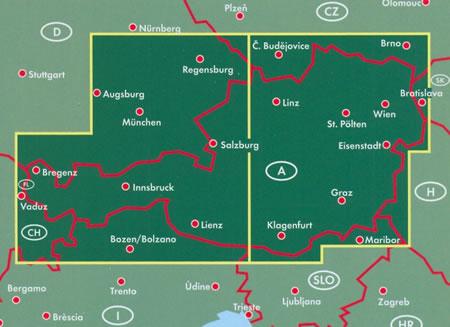 immagine di mappa stradale mappa stradale Austria / Österreich - con Vienna, St. Pölten, Linz/Lienz, Salisburgo (Salzburg), Innsbruck, Bregenz, Klagenfurt, Graz, Eisenstadt, Wels, Villaco (Villach)