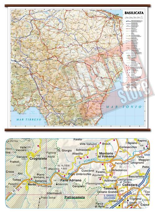 immagine di mappa murale mappa murale Basilicata - mappa murale plastificata con eleganti aste in legno, scrivibile e lavabile - cartografia dettagliata ed aggiornata - 72 x 63 cm