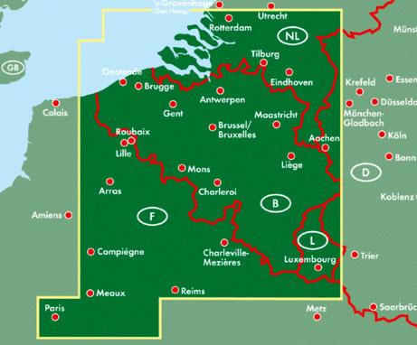 immagine di mappa stradale mappa stradale Belgio - mappa stradale con mappe del centro città di Bruxelles e Lussemburgo