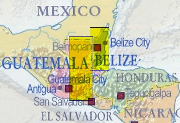 immagine di mappa stradale mappa stradale Belize e Guatemala Est - con Belize City, Guatemala City, Antigua - mappa plastificata, con spiagge e luoghi panoramici - nuova edizione