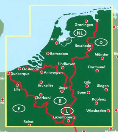immagine di mappa stradale mappa stradale Benelux - Belgio, Paesi Bassi, Lussemburgo