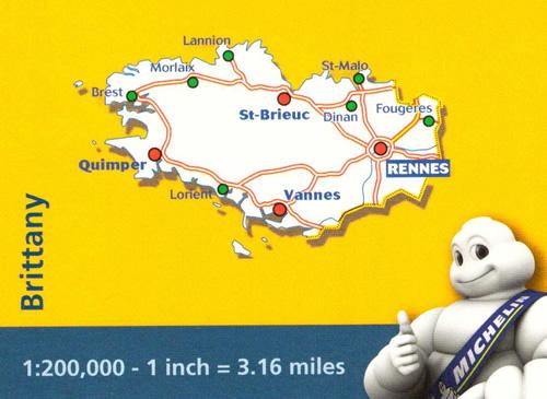 immagine di mappa stradale mappa stradale n. 512 - Bretagna / Bretagne / Brittany - con Rennes, St-Brieuc, Vannes, Dinan, St-Malo, Fougeres, Lorient, Quimper, Brest, Morlaix, Lannion - mappa stradale con stazioni di servizio e autovelox - nuova edizione