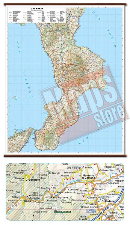 immagine di mappa murale mappa murale Calabria - mappa murale plastificata con eleganti aste in legno, scrivibile e lavabile - cartografia dettagliata ed aggiornata - 86 x 108 cm