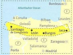 immagine di mappa topografica mappa topografica n.133 - Cammino di Santiago, tratto spagnolo - con Jaca, Burgos, Leon, Santiago de Compostela - mappa escursionistica, plastificata - con percorsi, altimetrie, riferimenti importanti per pellegrini e mappe delle località - nuova edizione