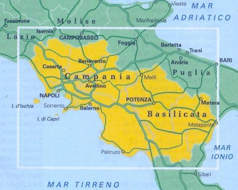 Cartina Basilicata.Mappa Stradale Regionale Campania E Basilicata