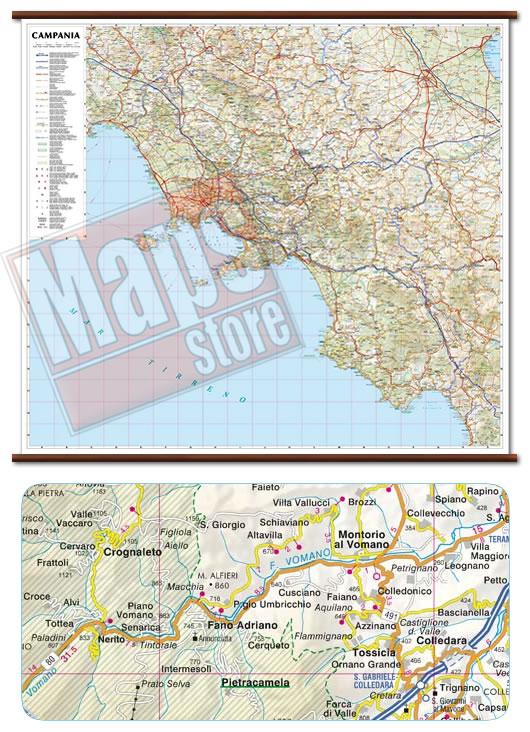 immagine di mappa murale mappa murale Campania - mappa murale plastificata con eleganti aste in legno, scrivibile e lavabile - cartografia dettagliata ed aggiornata - 96 x 86 cm