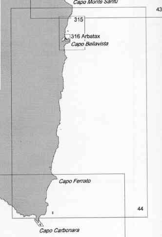 immagine di carta nautica carta nautica 44 - Da Capo di monte Santu a Capo Carbonara