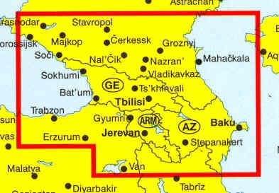 immagine di mappa stradale mappa stradale Caucaso - Georgia, Armenia, Azerbaigian, Cecenia, Ossezia, Dagestan