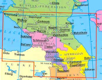 immagine di mappa stradale mappa stradale Caucasus/Caucaso - Armenia, Azerbaijan, Georgia
