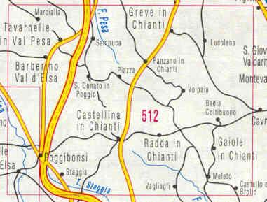 immagine di mappa topografica mappa topografica n.512 - Chianti, Val di Pesa, Val d' Elsa, Greve, Radda, Tavarnelle, Gaiole, Poggibonsi