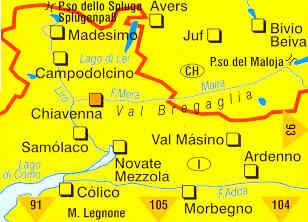 immagine di mappa topografica mappa topografica 92 - Chiavenna, Val Bregaglia, Madesimo, Passo dello Spluga, Campodolcino, Novate Mezzola, Morbegno, Juf, Avers, Passo del Maloja