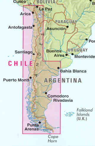 Patagonia Cartina Geografica.Mappa Stradale Chile Cile E Patagonia