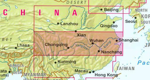 immagine di mappa stradale mappa stradale n. 3 - China / Cina Centrale - con Shanghai e Hangzhou