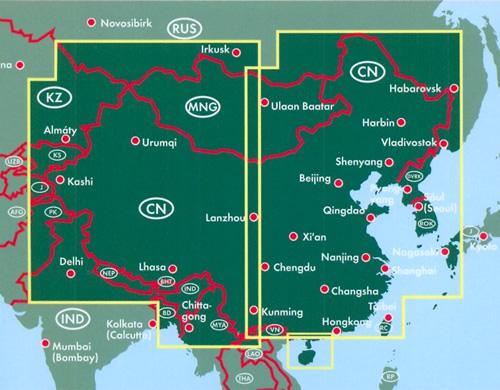 immagine di mappa stradale mappa stradale Cina, Mongolia, Taiwan - mappa stradale con cartografia facile da leggere, precisa ed aggiornata - con luoghi panoramici, parchi, riserve naturali, templi e siti archeologici
