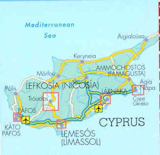 immagine di mappa stradale mappa stradale Cipro / Cyprus / Zypern  plastificata