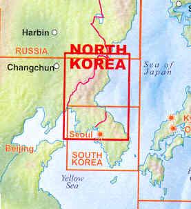 immagine di mappa stradale mappa stradale Corea del Nord e Sud / North and South Korea - con mappe di PyongYang e Seoul - Set di 2 mappe stradali