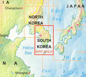 Cartina Mondo Corea.Mappa Stradale Corea Del Sud South Korea Con Seoul