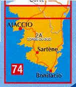 immagine di mappa stradale mappa stradale n.74 - Corsica del Sud con Ajaccio e Bonifacio