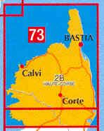 immagine di mappa stradale mappa stradale n.73 - Corsica del Nord con Bastia e Corte