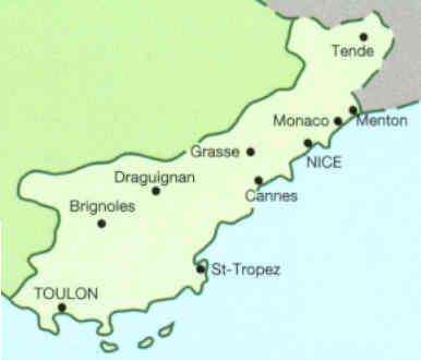 Cartina Costa Azzurra.Guida Turistica Costa Azzurra