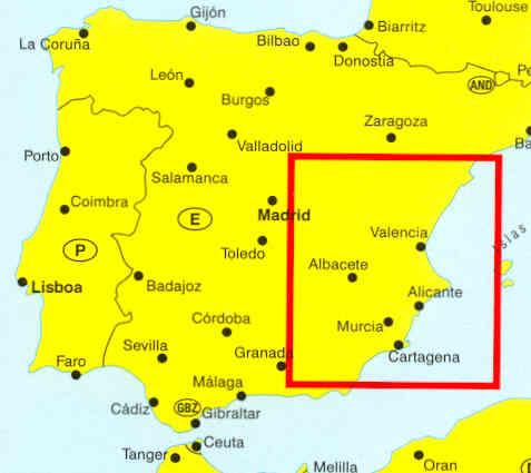 immagine di mappa stradale mappa stradale Costa Blanca , Costa del Azahar, La Mancia, Murcia, Valencia