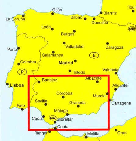 immagine di mappa stradale mappa stradale Costa del Sol, Costa de la Luz, Andalusia, Murcia, Granada