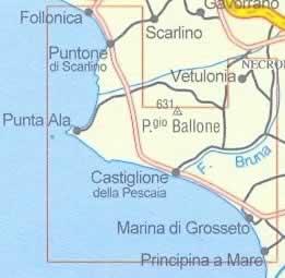 immagine di mappa topografica mappa topografica n.529 - Costa della Maremma - con Castiglione della Pescaia, Follonica, Marina di Grosseto, Punta Ala, Vetulonia, Puntone di Scarlino