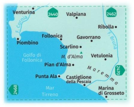 immagine di mappa topografica mappa topografica n.2469 - Costa della Maremma - con Piombino, Follonica, Castiglione della Pescaia, Gavorrano, Vetulonia, Punta Ala, Marina di Grosseto, Ribolla, Valpiana, Venturina - mappa plastificata, compatibile con sistemi GPS