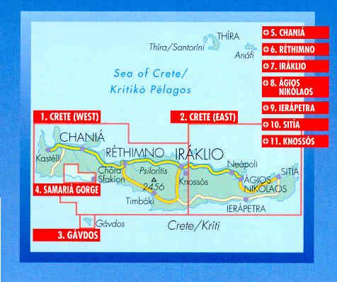 immagine di mappa stradale mappa stradale Creta  / Krìti  / Kreta / Crete plastificata