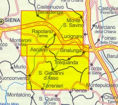 immagine di mappa topografica mappa topografica n.518 - Crete Senesi - con Sinalunga, Monte S. Savino, S. Giovanni d'Asso, Asciano, Buonconvento, Rapolano Terme, Trequanda - nuova edizione