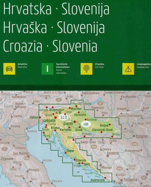 immagine di atlante stradale atlante stradale Croazia, Slovenia - atlante stradale a spirale - con percorsi panoramici, campeggi, parchi e riserve naturali, mappe di città - edizione 2020