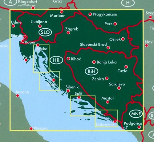 immagine di mappa stradale mappa stradale Croazia - con Zagabria (Zagreb), Spalato (Split), Fiume (Rijeka), Osijek, Zara (Zadar), Slavonski Brod, Velika Gorica, Karlovac, Pola (Pula) + isole della Dalmazia in dettaglio - edizione 2017