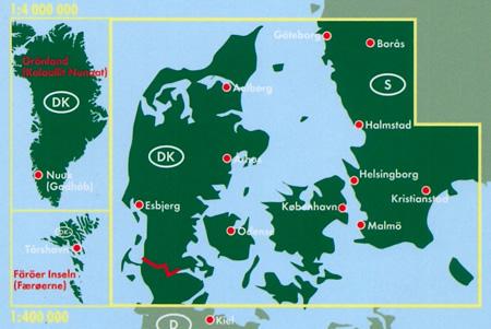 immagine di mappa stradale mappa stradale Danimarca - con Copenaghen, Groenlandia, Isole Faeroes, Odense, Arhus, Esbjerg, Aalborg, Nuuk, Torshavn - edizione 2019