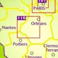immagine di mappa stradale mappa stradale n.116 - dintorni di Tours e Valle della Loira (con Le Mans e Orleans)