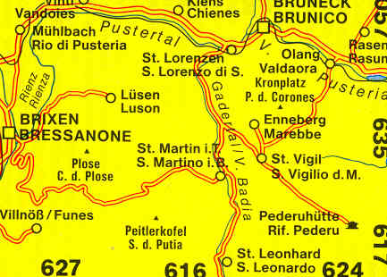 Cartina Geografica Dolomiti.Mappa Topografica 615 Dolomiti Brixen Bressanone St Vigil Enneberg Val Pusteria Val Badia Bruneck Brunico
