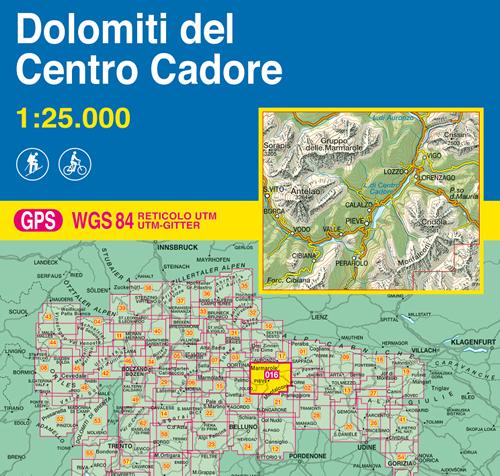 immagine di mappa topografica mappa topografica 016 - Dolomiti del Centro Cadore - con reticolo UTM compatibile con GPS - nuova edizione