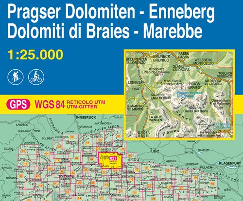 immagine di mappa topografica mappa topografica n.031 - Dolomiti di Braies, Marebbe / Pragser Dolomiten, Enneberg - Brunico, S. Lorenzo, Rasen, Valdaora, Passo Furcia, Braies, Villabassa, Monguelfo, Enneberg, La Valle, St. Martin, Croda del Beco, Senes, Fanes, P. di Vallandro, Dobbiaco, Badia - con reticolo UTM compatibile con sistemi GPS - nuova edizione