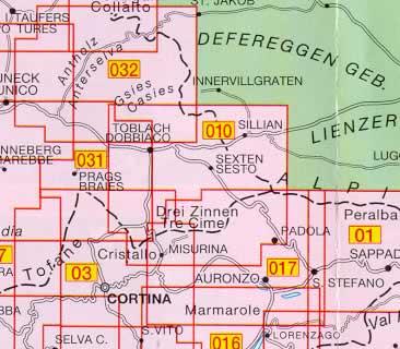 immagine di mappa topografica mappa topografica 010 - Dolomiti di Sesto / Sextener Dolomiten - compatibile con GPS