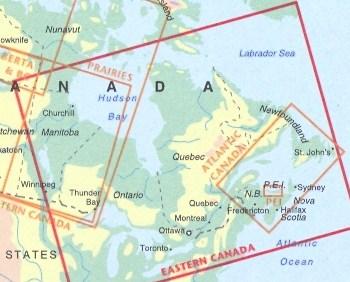 Mappa Stradale Eastern Canada Canada Est Con Toronto Ottawa