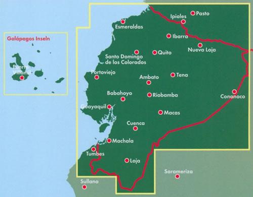 immagine di mappa stradale mappa stradale Ecuador - Guayaquil, Quito, Cuenca, Santo Domingo, Machala, Durán, Portoviejo, Manta, Loja, Ambato, Esmeraldas, Quevedo, Riobamba, Milagro, Ibarra, La Libertad, Babahoyo, Sangolquí, Daule, Latacunga, Isole Galapagos - edizione 2017