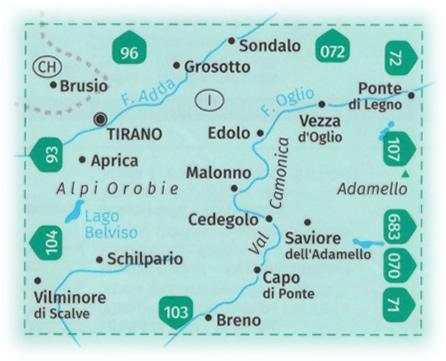 immagine di mappa topografica mappa topografica n.94 - Edolo, Aprica, Ponte di Legno, Val Camonica, Tirano, Lago Belviso, Breno, Capo di Ponte, Malonno, Saviore, Gruppo dell' Adamello, Vezza d' Oglio, Lago d' Arno - con sentieti CAI, percorsi per MTB, vie ferrate, itinerari per sci e alpinismo - mappa plastificata, compatibile con sistemi GPS - edizione 2020
